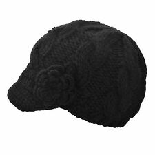 Women's Hand Knitted Newsboy BLK Cap w/ Short Soft Visor Side Crochet Flower