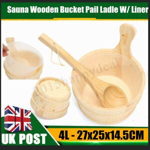 4L Sauna Wooden Bucket Pail Ladle + Linner Combined Set Sauna Room Accessory UK