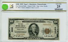 """FR1804-1 CH #5682 $100 1929 FRBN """"STOYSTOWN, PA"""" PCGS 25 VF (#65a DFP 7/18/20)"""