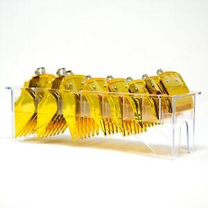 Compatible Wahl Clipper Guards Combs Set + Holder Gold Transparent Blue Red
