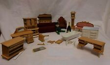 Large Lot of  Doll House Wood Furniture Table Chairs Dresser Grandfather Clock