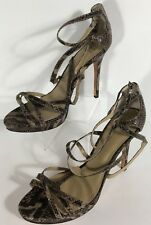 Saks Fifth Avenue Gray Rattle Snake Skin Design Leather Strappy Heels Size 11 M