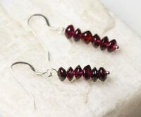 "Garnet Burgundy Red Roundel Gemstone Earrings .925 Sterling Silver Hooks 1 3/8"""