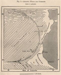 Atlantic Winds and Currents. Atlantic Ocean 1885 old antique map plan chart