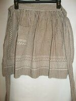 Brown Checked Gingham Half Apron White Cross Stitch Handmade Vintage Pocket