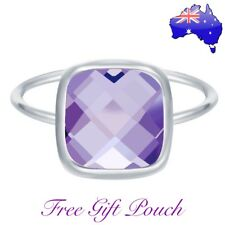 Purple Amethyst Square Crystal Stone Silver Ring Women's Jewellery + Gift Pouch