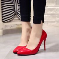 Plus Size 34-44 Hot Women Shoe Pointed Toe Pumps Patent Leather Dress High Heel