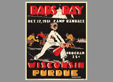 Wisconsin Badgers Football DAD'S DAY 1931 v. Purdue Vintage Program Cover POSTER