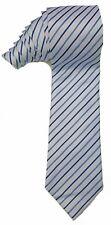NEW Mens Silk Tie Necktie Slim White Blue Stripe Brand Unknown $55 A3519