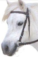 Eureka Plain Leather Snaffle Bridle In Black Or Brown - Shetland Pony Cob & Full