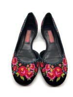 Betsy Johnson Black Embroidered Floral Flats Dress Shoes Size Woman 5