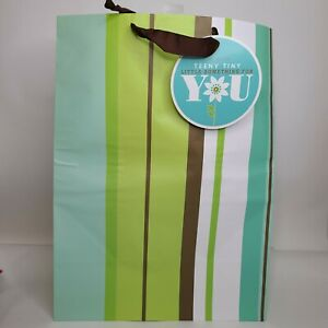 New Hallmark Large Blue Green Brown Stripe Gift Bag All Occasion Birthday Party