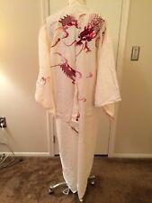 Vintage Japanese Women's Silk Embroidered Kimono Robe White/Cream w/Red Dragons