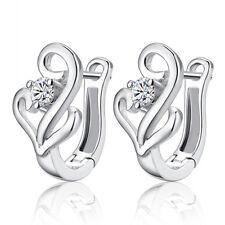 Women's Crystal Music Note Ear Stud Hoop Earrings 925 Sterling Silver Jewellery