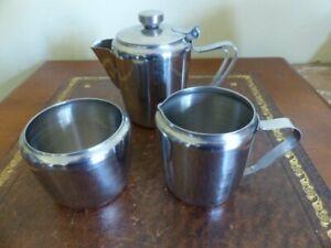 Vintage Retro Stainless Steel Trio Teapot, Sugar , Milk