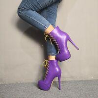 Fashion Women's Platform High Heels Boots Round Toe Purple Shoes Woman Plus Size