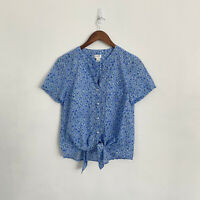 J Crew S Small Button Tie Front Blue Green Flower Short Sleeve Cotton Top L6802