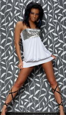 Sexy White Silver Sequin Mini Dress Clubwear Party Dress Size 8 10 12