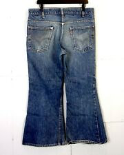 vtg 70s Levis 646 Bell Bottom Flare Denim Jeans #4 Button TALON 42 USA 36 X 28