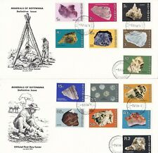 Botswana 1974 Minerals Set on 2 Unaddressed Illustrated First Day Covers