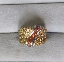 3.66ctw 14k White Gold Fancy Yellow and Orange Sapphire Ring - 9.6g