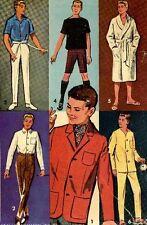 Doll Clothing PATTERN for Ken Barbie's boy friend & Allen 60s teen Dolls 2899