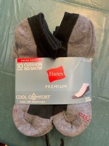 Hanes Premium cushion No Show Socks Cool Comfort Breathable 10 Count Wicking