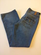 Maurices Jeans Womens Size 7/8 Medium Wash Straight Leg Back Flap Pockets Denim