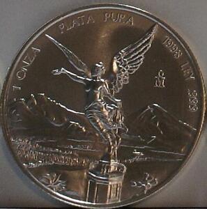 1998 1 Ounce Low Mintage Key Date .999 Silver Mexico Libertad GEM Brilliant UNC