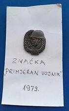 EXEMPLARY SOLDIER PIN 1979, ZNAČKA PRIMJERNOG VOJNIKA, ugoslav People's Army !