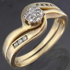 BRIDAL SET of 7 DIAMOND in 9k Solid Yellow GOLD WEDDING / ETERNITY 2 RING Sz P