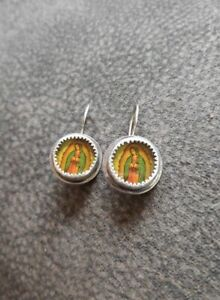 Wanda Lobito (Santa Fe) Sterling and Glass Art Guadeloupe Earrings
