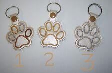 Choice -Handmade Paw Print Embroidered Key Fob, Zipper Pull, Snap Tab Key Chain