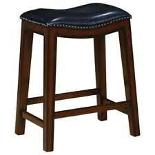 Counter Height Stool in Burnished Cappuccino and Black Seat  - Set of 2