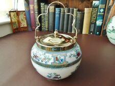 19th c Porcelain Biscuit Barrel - Sefton & Brown - Lustre Ware & Silver Plate