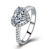 Elegant Women Wedding Filled Heart Crystal Cubic Zirconia Crown Ring Jewelry