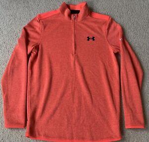 Mens Small Orange Under Armour Golf 1/4 Zip Sweater