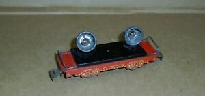 ": Vintage Marx Trains .. ""Marx 6"" (4) Twin Searchlight Car w/ Red Frame"""