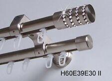 Innenlauf Gardinenstange Edelstahl Look 20mm Wandträger 2-läufig H60 II
