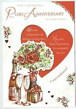 Ruby 40th Wedding Anniversary Card With Embossed Champagne And Flowers