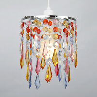 Chrome  Multi Coloured Ceiling Pendant Light Lamp Shades Lights Chandeliers NEW