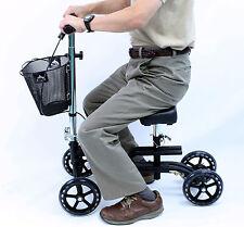 Leg Exerciser Knee Walker Rolling Foldable Crutch Karman KW-100-BK Black New