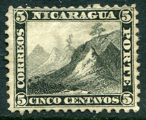 NICARAGUA # 5 Fine Light Hinged Issue - LIBERTY CAP ON PEAK COUNTRY SEAL - S6293