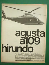 5/1973 PUB HELICOPTERE AGUSTA A109 HIRUNDO HUBSCHRAUBER ORIGINAL AD