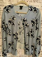NWT Ann Taylor Women's Sweater Blue Floral Cardigan  Size M