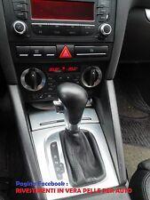 Cuffia leva cambio automatico AUDI A3 8P 8PA dal 2003 al 2012 in vera pelle NERA