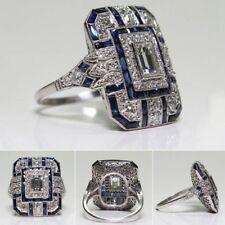 Frauen Männer Antik Art Deco Große Silber Blau Saphir & Diamant Ring Party Rings