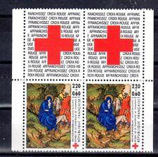 FRANCE PAIRE TIMBRE CROIX ROUGE AVEC VIGNETTE 2498 ** FUITE EN EGYPTE ANE - 1987