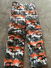 Burton Skull/Lightning Orange & Gray Camo Cargo Snowboard Pants Big Kids Large