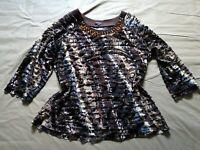 Elementz Women's XL Embellished Neck Layered Animal Print 3/4 Sleeve Top EUC